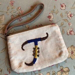 Miss Albright T monogram wristlet pouch bag